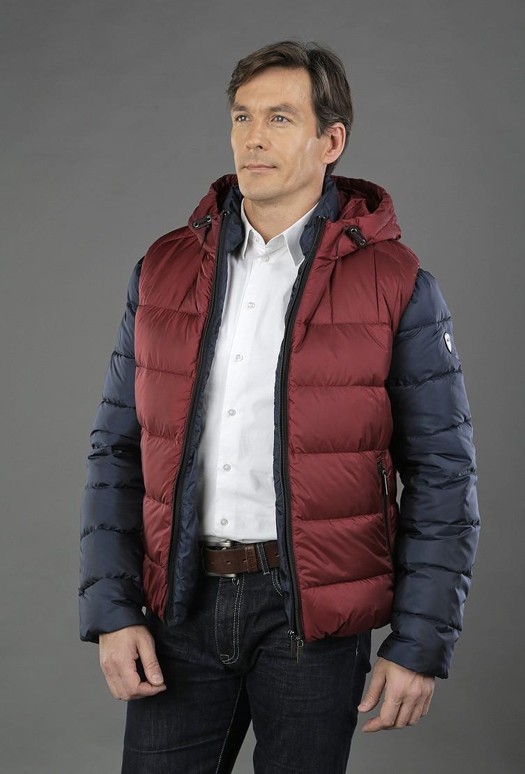 осенне-зимний мужской пуховик спортивный серый с красным