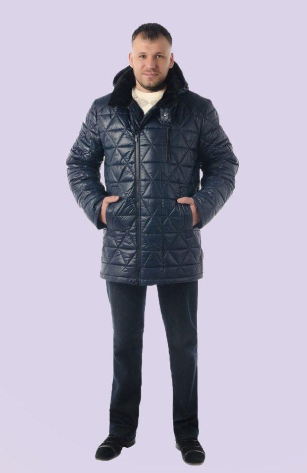 стеганая куртка синяя с меховым воротом