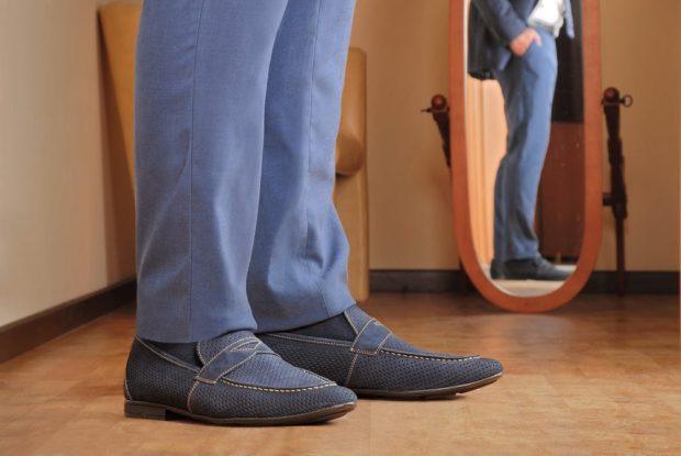 мужские туфли: серо-синие мокасины в сетку