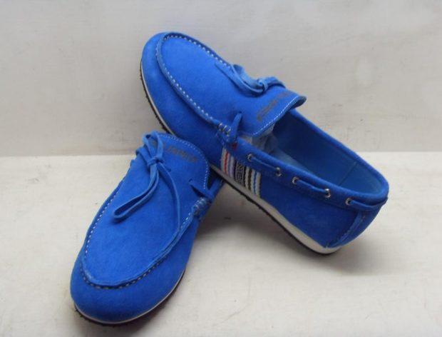 мужские туфли: синие мокасины замшевые