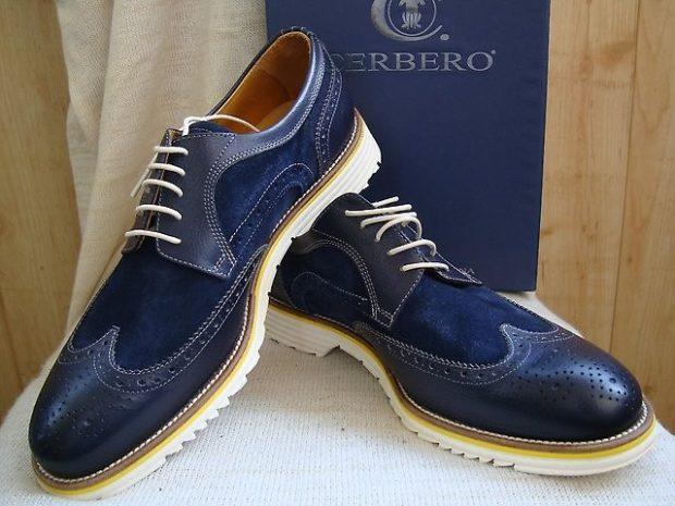 мужские туфли: синие кожа с замшем на шнурках подошва белая