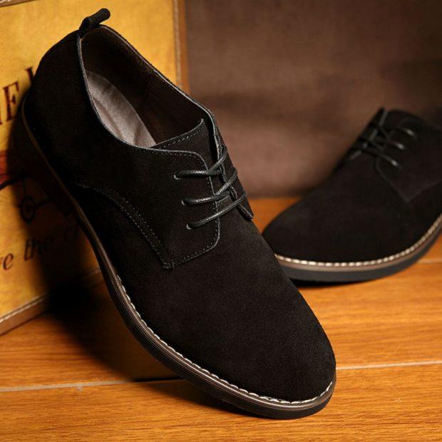 замшевые туфли черные на шнурках