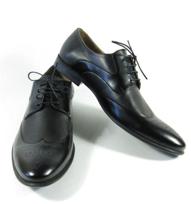 мужские туфли: классические на шнуровки носок круглый черный