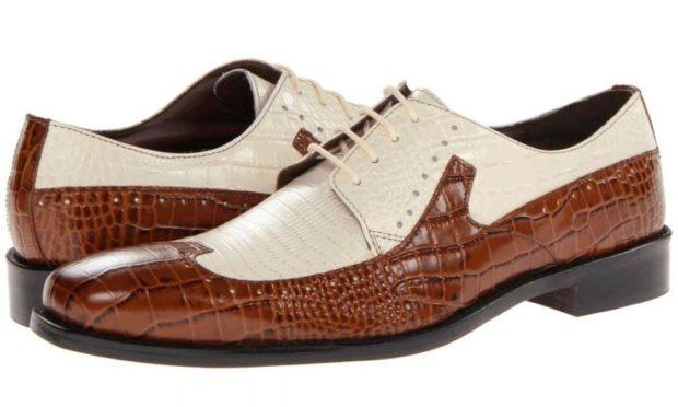мужские туфли: классические на шнуровки белые с коричневой вставкой рептилия