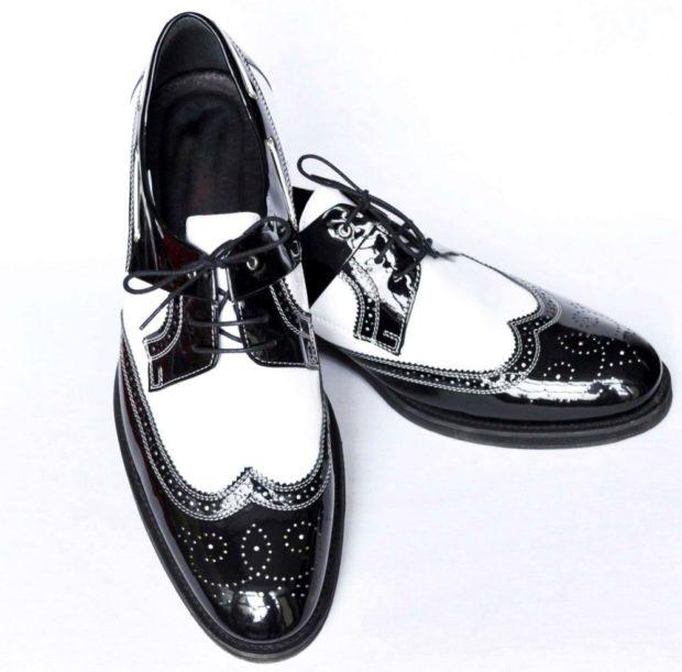 Оксфорды черно-белые с вытянутым носком