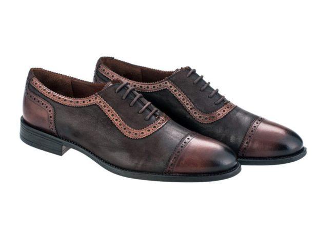 туфли коричневые с черным с декором