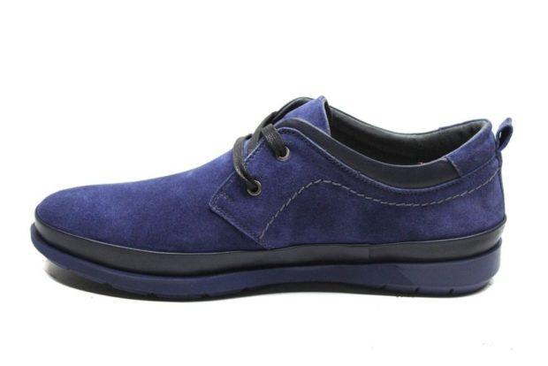 мужские туфли: мокасины синие с двухцветной подошвой