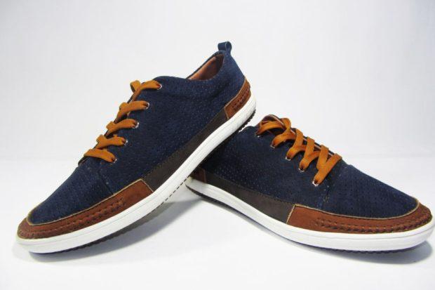 туфли спортивные синие с коричневым подошва белая