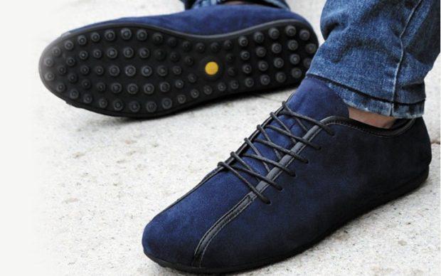 мокасины синие на шнурках