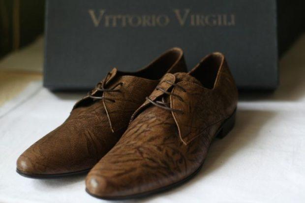 коричневые туфли в принт носок вытянутый