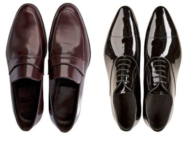 классические туфли лаковые коричневые черные