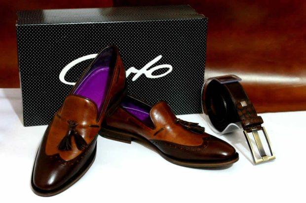 коричневые лаковые туфли
