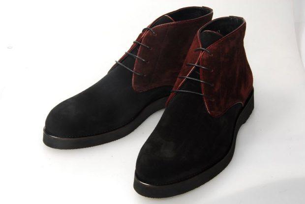 ботинки черные с бордовыми вставками замш