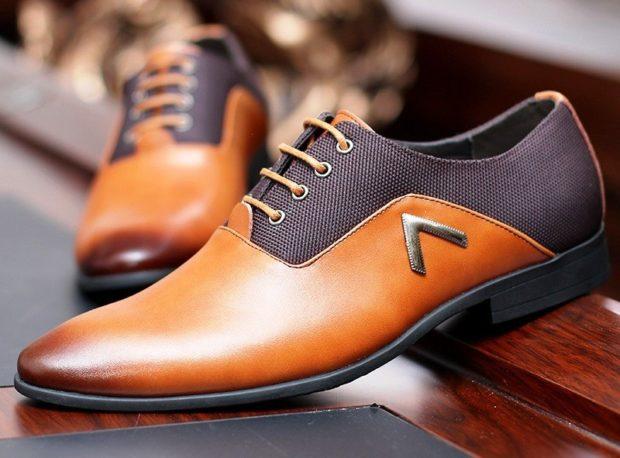 туфли двухцветные коричневые с серым