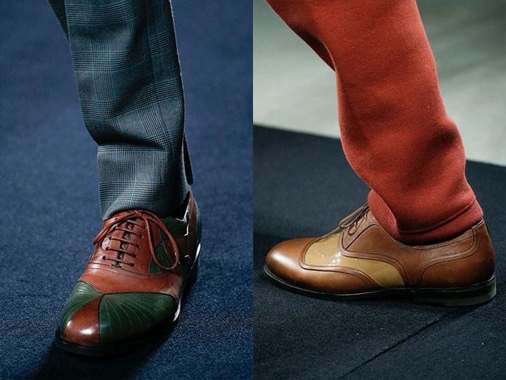туфли двухцветные коричневые с зеленым коричневые с бежевым