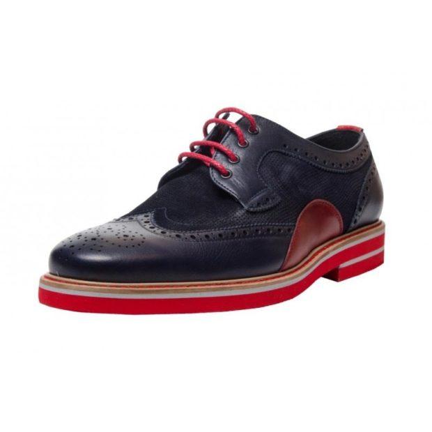 туфли двухцветные синие с красным