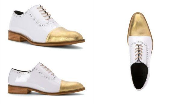 туфли двухцветные белые с золотом
