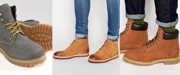нубуковые ботинки коричневые