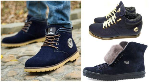 ботинки синие замшевые на светлой подошве