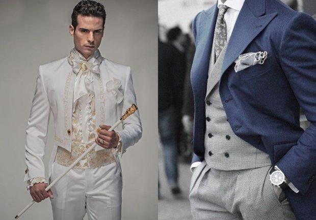 брючный костюм белый свадебный серые брюки жилетка синий пиджак