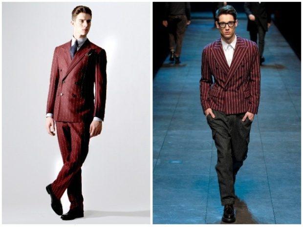 брючный костюм красный в полоску красный пиджак с серыми брюками