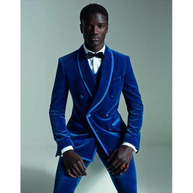 бархатный костюм синий