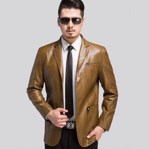 костюм брючный кожаный пиджак коричневый