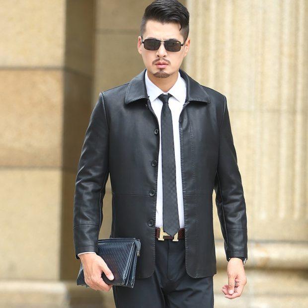 костюм брючный черный пиджак кожаный брюки в тон