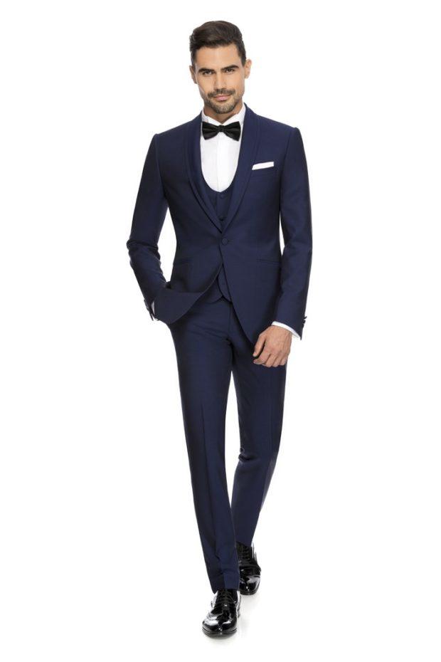 брючный костюм с жилеткой темно синий