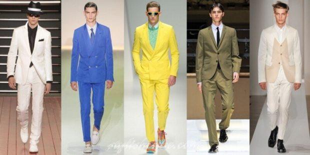 костюмы брючные летние белый синий желтый зеленый белый