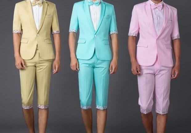 костюмы с короткими брюками желтый салатовый розовый