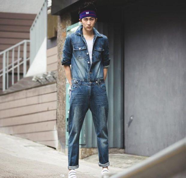 костюм джинсовый потертый синий