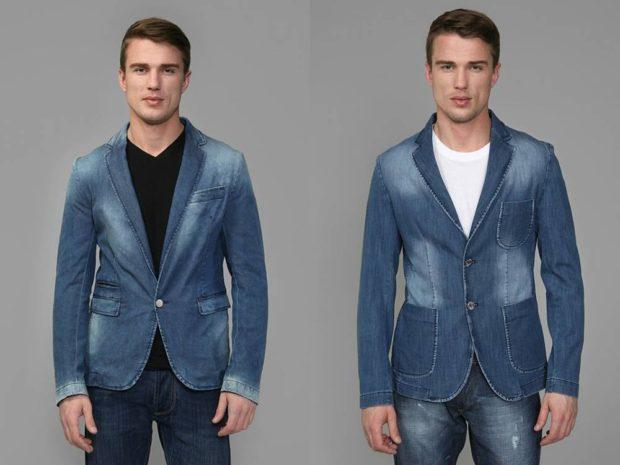 костюм джинсовый синий классика