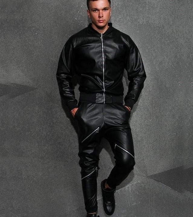 кожаный черный костюм