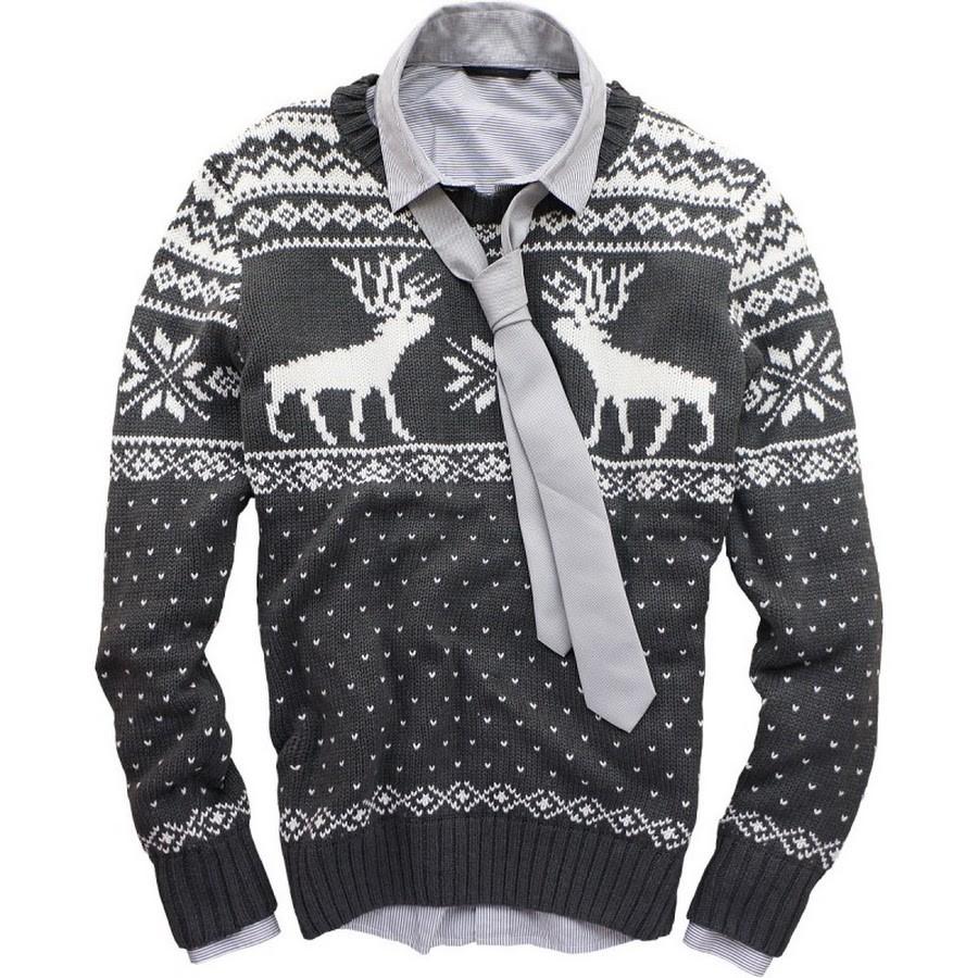 серый свитер с олень и снежинки