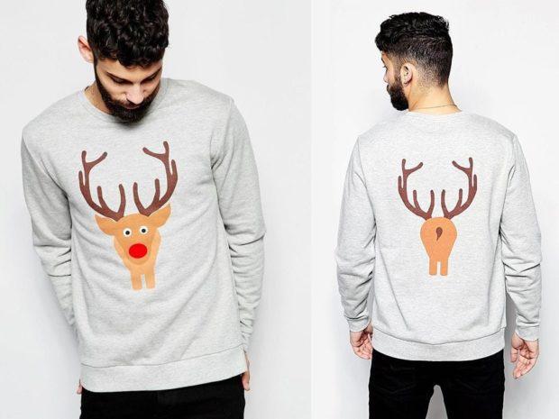 серый свитер с оленем