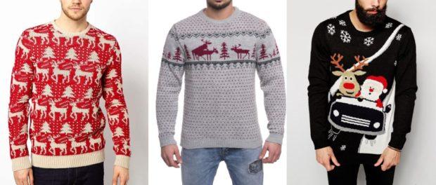 красный, серый и черный свитер с оленем и снежинками