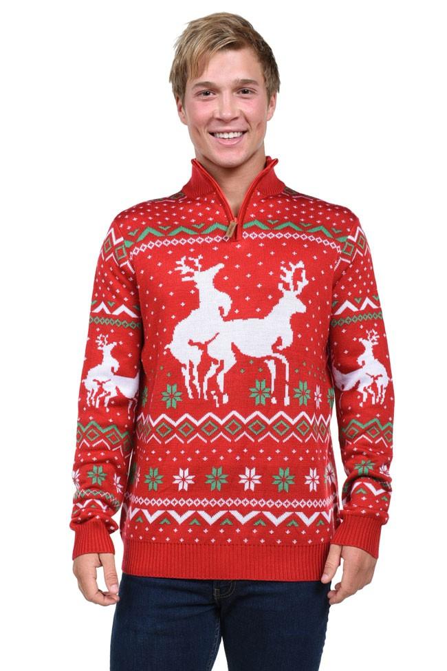 красный свитер со змейкой с оленем и снежинками