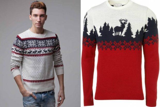 белый и красный свитер с оленем и снежинками