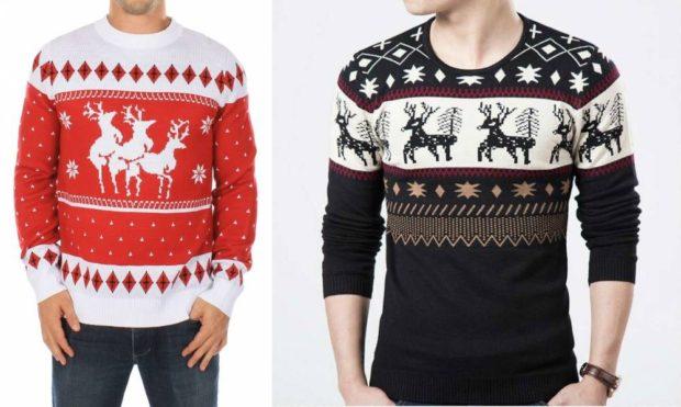 белый с красным и черный свитер с оленем и снежинками