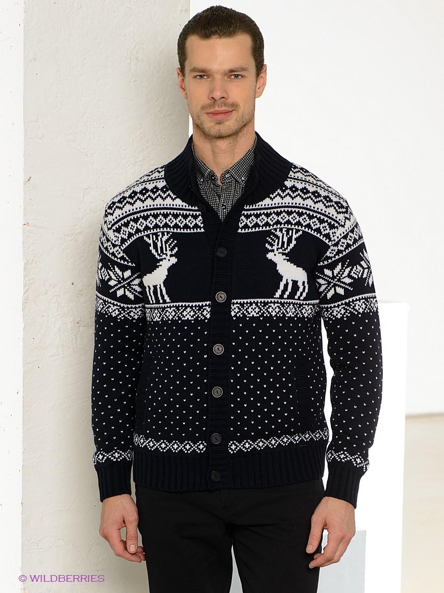 черный кардиган с оленем и снежинками