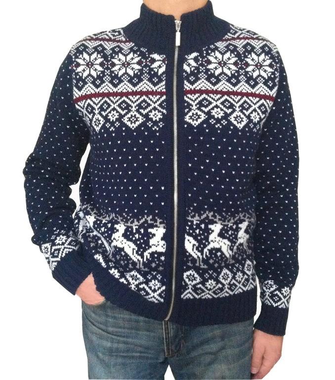 темно синий кардиган с оленем и снежинками