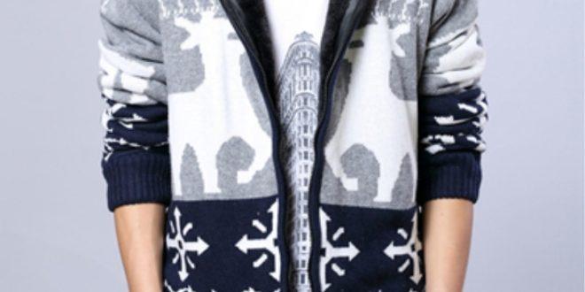 Теплый вязаный свитер с оленями мужской