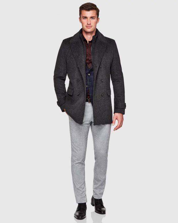 мужская мода осень-зима 2020-2021: темно-серое пальто
