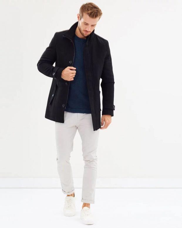 мужская мода осень-зима 2019-2020: черная куртка на пуговицах