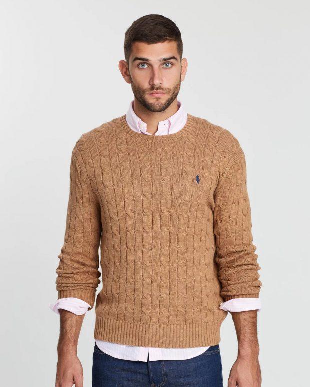 мужская мода осень-зима 2019-2020: бежевый свитер