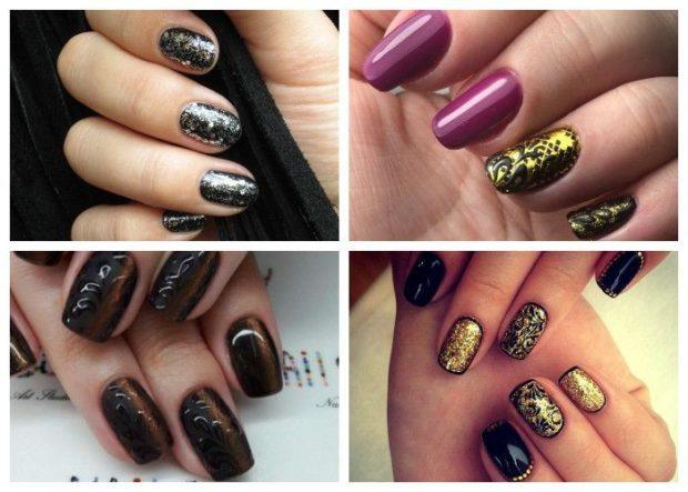 дизайн ногтей на новый год 2019: ногти серебристые фиолетовые с черным и золотом коричневые