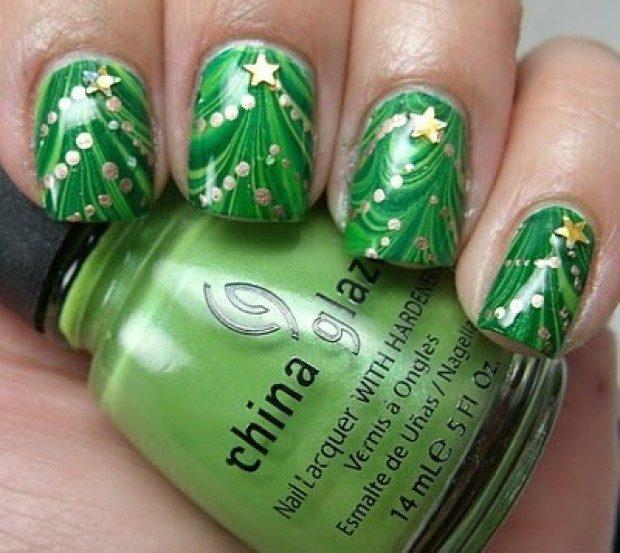 дизайн ногтей на новый год 2019: зеленые ногти елка
