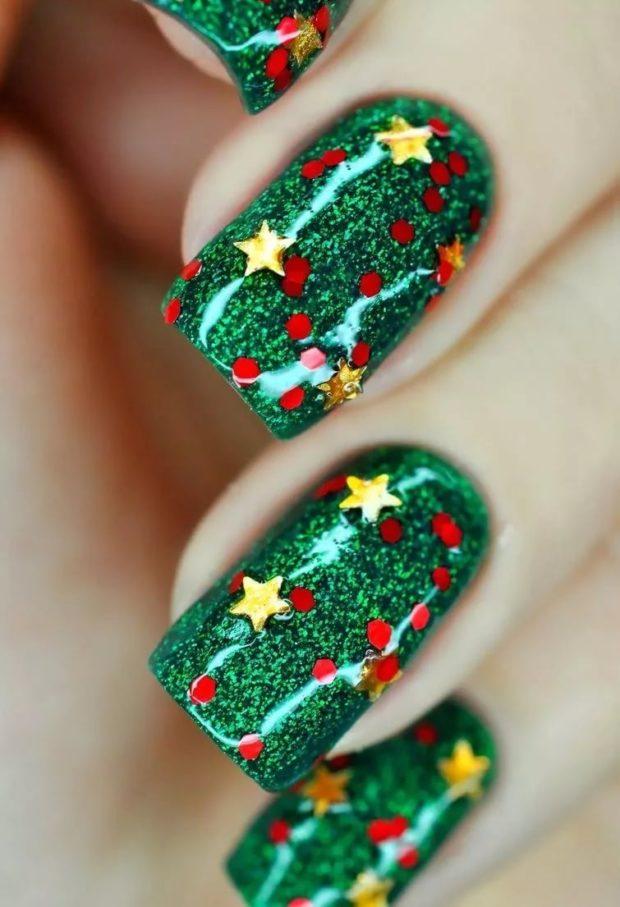 новогодний маникюр: елка со звездами