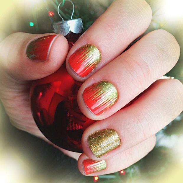 дизайн ногтей на новый год 2019: красные ногти с золотом